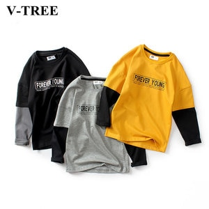 Autumn Boys Shirts Hit Color T Shirt For Kids Teenager Bottom 4-12years Children School Outerwear Baby Tees Boy Clothing