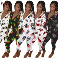 prowow spring autumn sexy onesies for adults long sleeve v neck fine print pajama romper women jumpsuit nightwear home wear