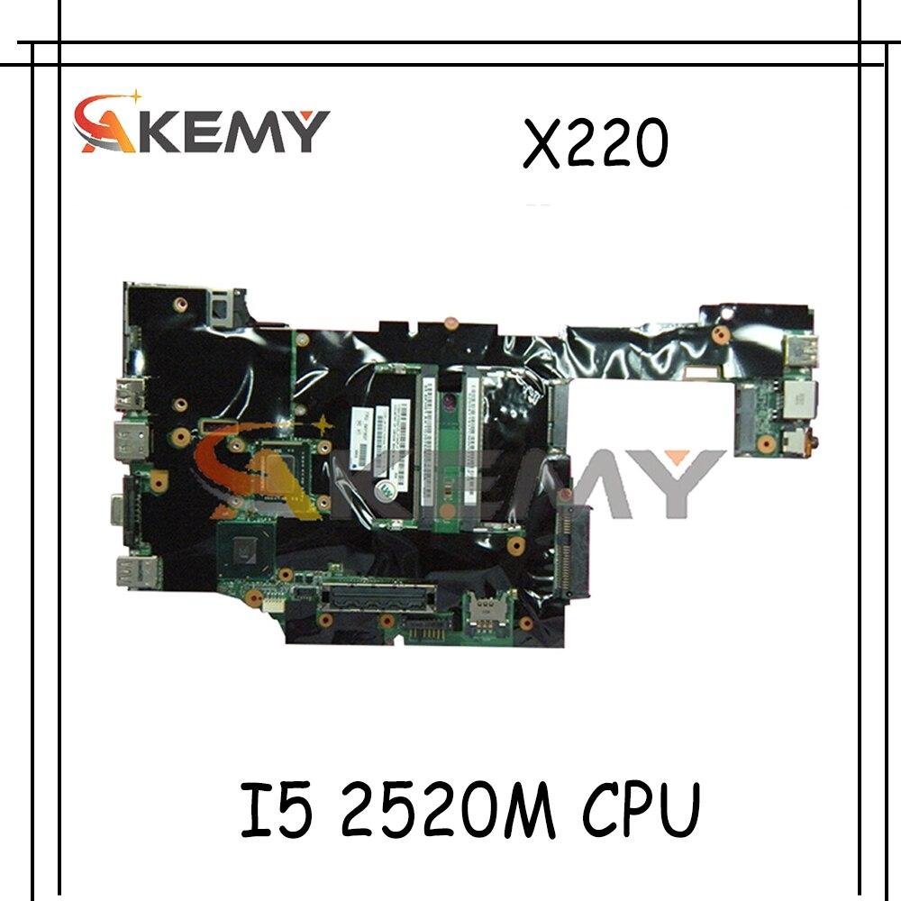 Akemy مناسبة لأجهزة الكمبيوتر المحمول لينوفو ثينك باد X220 X220I اللوحة الأم FRU 04W0679 04W0660 04W2127 04W3276 CPU I5 2520m العمل