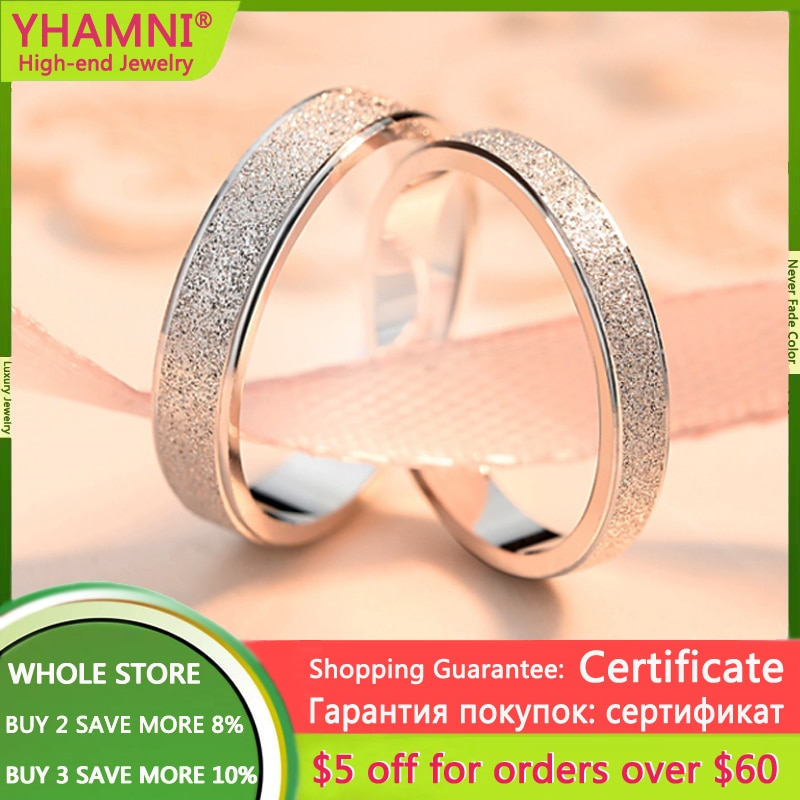 With Certificate 1PCS Lovers 925 Solid Silver Rings for Men Women Top Quality Frosted Texture Wedding Bands New Couple Jewelry