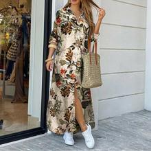 แฟชั่นผู้หญิงแขนยาวดอกไม้เสือดาว Camo พิมพ์แยก Hem Maxi เสื้อชุด