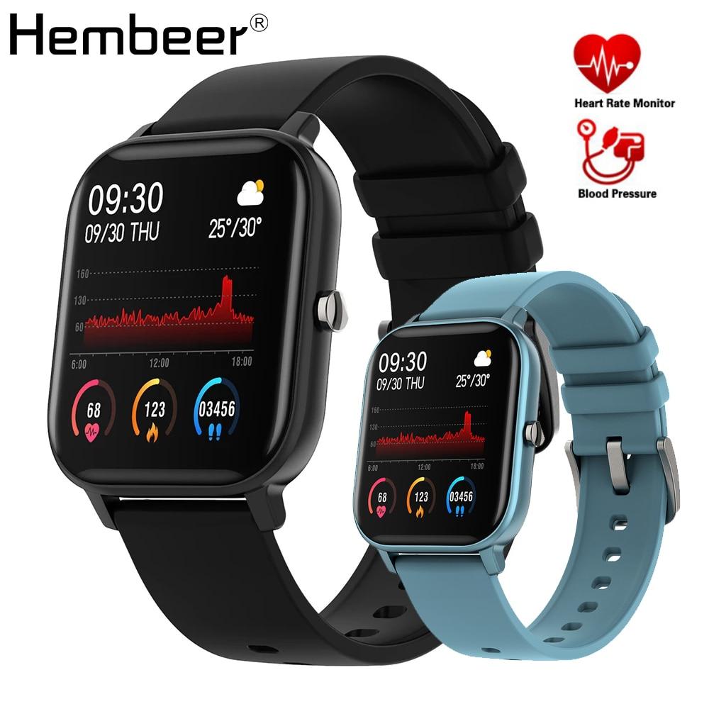 Hembeer-P8 ساعة متصلة للرجال والنساء ، شاشة تعمل باللمس 1.4 بوصة ، نشاط بدني ومراقبة ضغط الدم ، GTS ، لهواتف Xiaomi و iphone