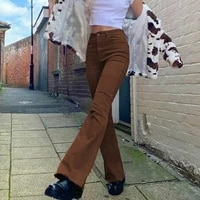 brown black high waist stretch flare jeans women bell bottom vintage pants trousers pantalon femme ropa mujer clothes
