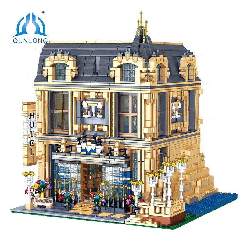 QUNLONG مباني المدينة أرقام مجموعات أصدقاء البيت فندق العمارة اللبنات الطوب مدينة الشارع عرض لعب للأطفال