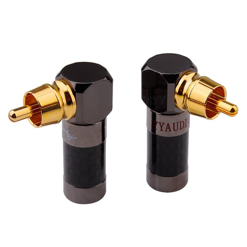 Hifi RCA Plug Audio Connector Gold Plated Male Plug 90 Degree Adapter RCA Socket Speaker Terminals Solder Connectors Audio Jack