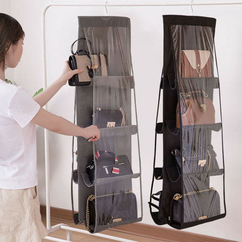 6/8 Pocket Folding Hanging Handbag Purse Storage Large Clear Holder Anti-dust Organizer Rack Hook Hanger