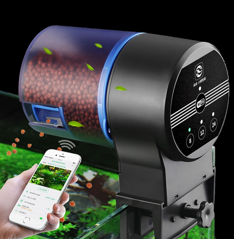 Alimentador de peces automático inteligente WIFI dispensador de alimentos para peces tanque de peces alimentador con temporizador