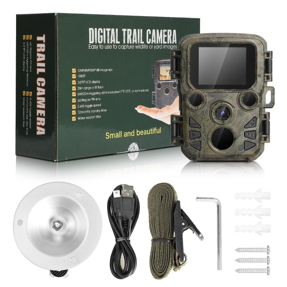 Mini cámara de caza 12MP 1080P HD Video noche LEDs IR rastro Cam pista IR gama de LEDS para 65ft foto trampas