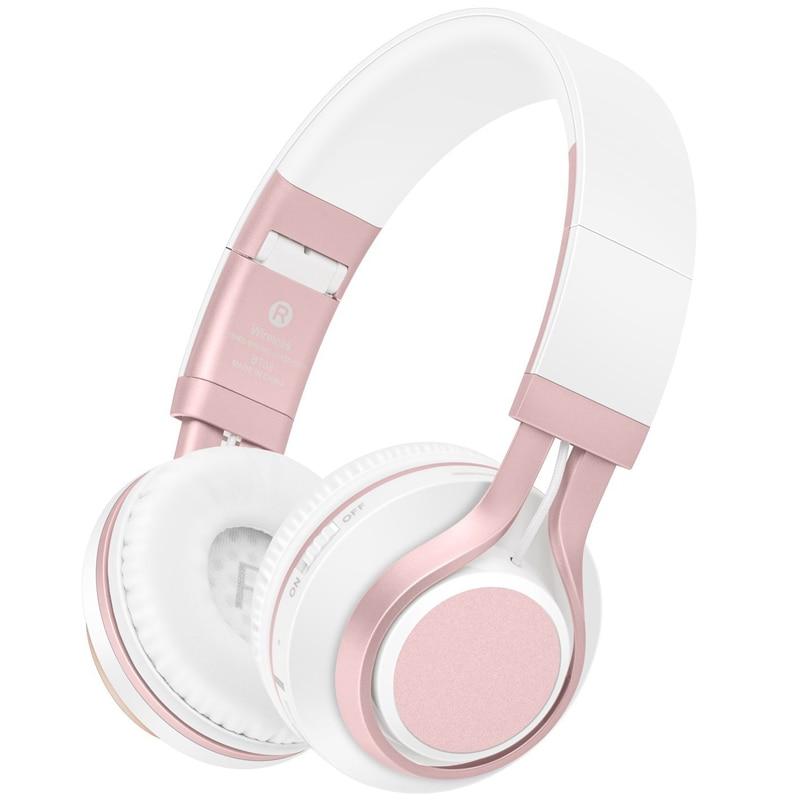 Fones de ouvido sem fio bluetooth rose gold, fones de ouvido estéreo com microfone/cartão tf para telefones celulares música meninas