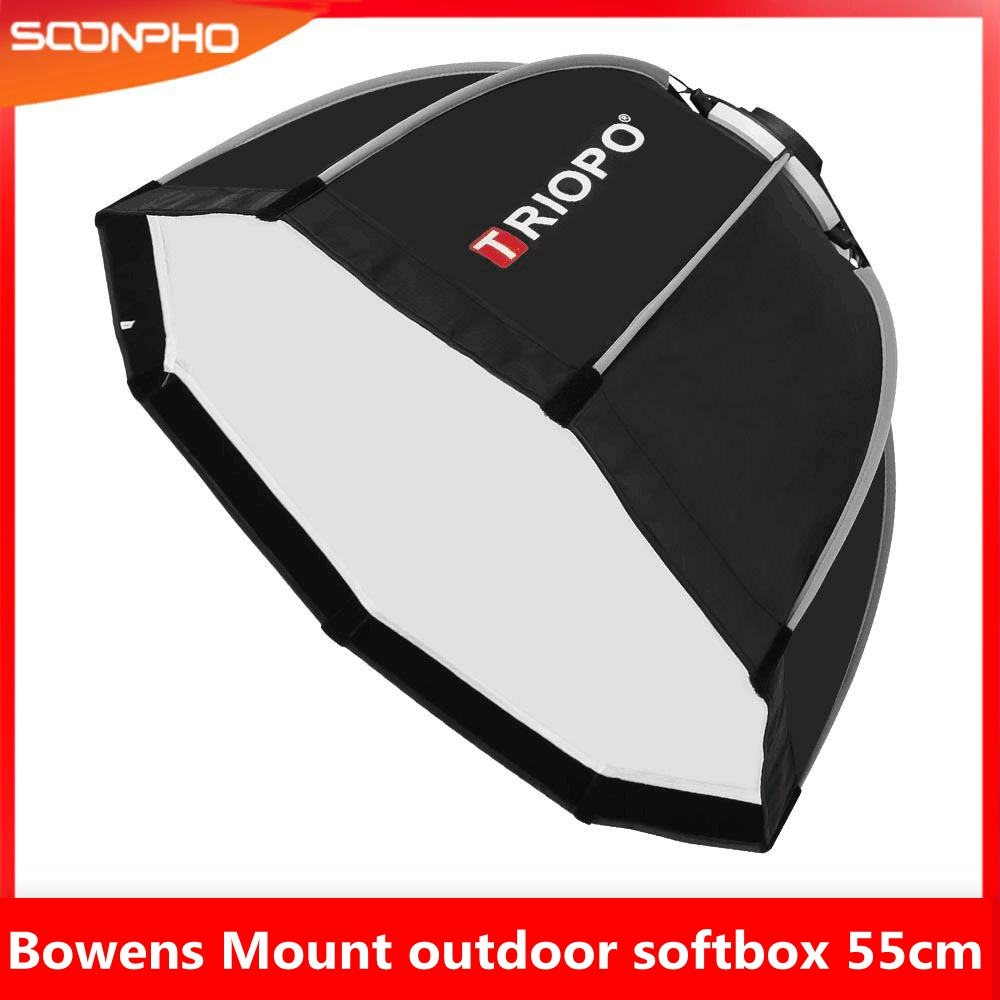 TRIOPO-صندوق سوفت بوكس عاكس ، 55 سنتيمتر ، حامل بوينز للتصوير الفوتوغرافي ، ملحقات إضاءة فلاش ستروب