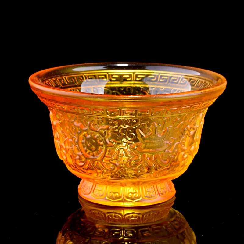 Budista templo ornamentos tântrico oito auspicioso vidro para tigelas de água, água benta sete para copos de suprimentos budistas