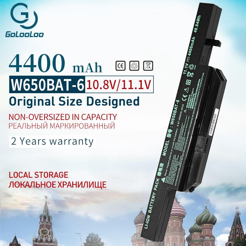 Golooloo 6 CELL 11,1 v 4400mAh batería del ordenador portátil para Hasee K610C K650D K570N K710C K590C K750D serie Clevo W650S W650BAT-6 batterie