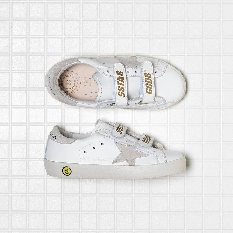 Spring New Children First Layer Cowhide Retro Distressed Small Dirty Shoes Boys and Girls Fashion Velcro Kids Sneakers CS189 enlarge