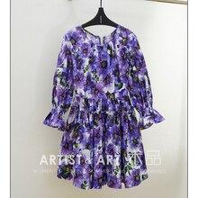 Svoryxiu Runway High End Summer Cotton Dress Women's Hand Painted Flower Print Purple Dresses 2020 New