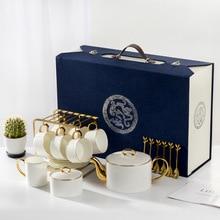 Ceramic coffee pot + cup saucer + spoon + milk cup + sugar bowl gift box set high-grade bone china tea kettle hand-painted gold