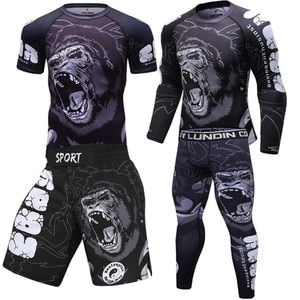 KickBoxing Sets Muay Thai Jersey MMA Fightwear Boxing Shirts Set Compression Men Sport T shirts Pants Rashguard Jitsu Rash Guard