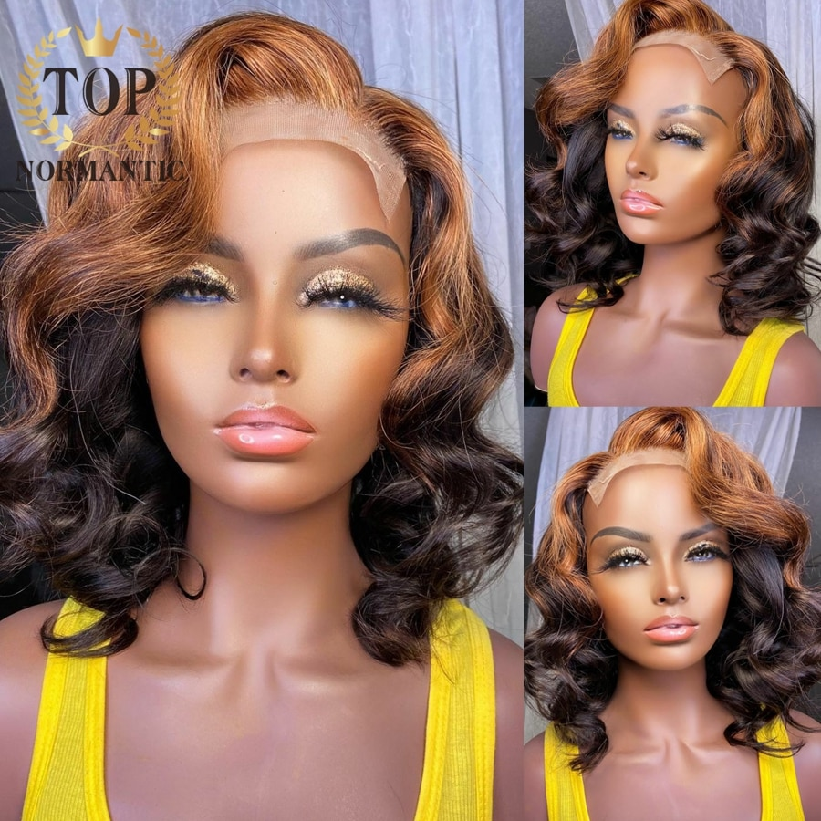 Topnormantic Highlight Color Loose Wave Wig With Baby Hair Glueless Wig For Women Remy Human Hair T Part Lace Wigs Preplucked