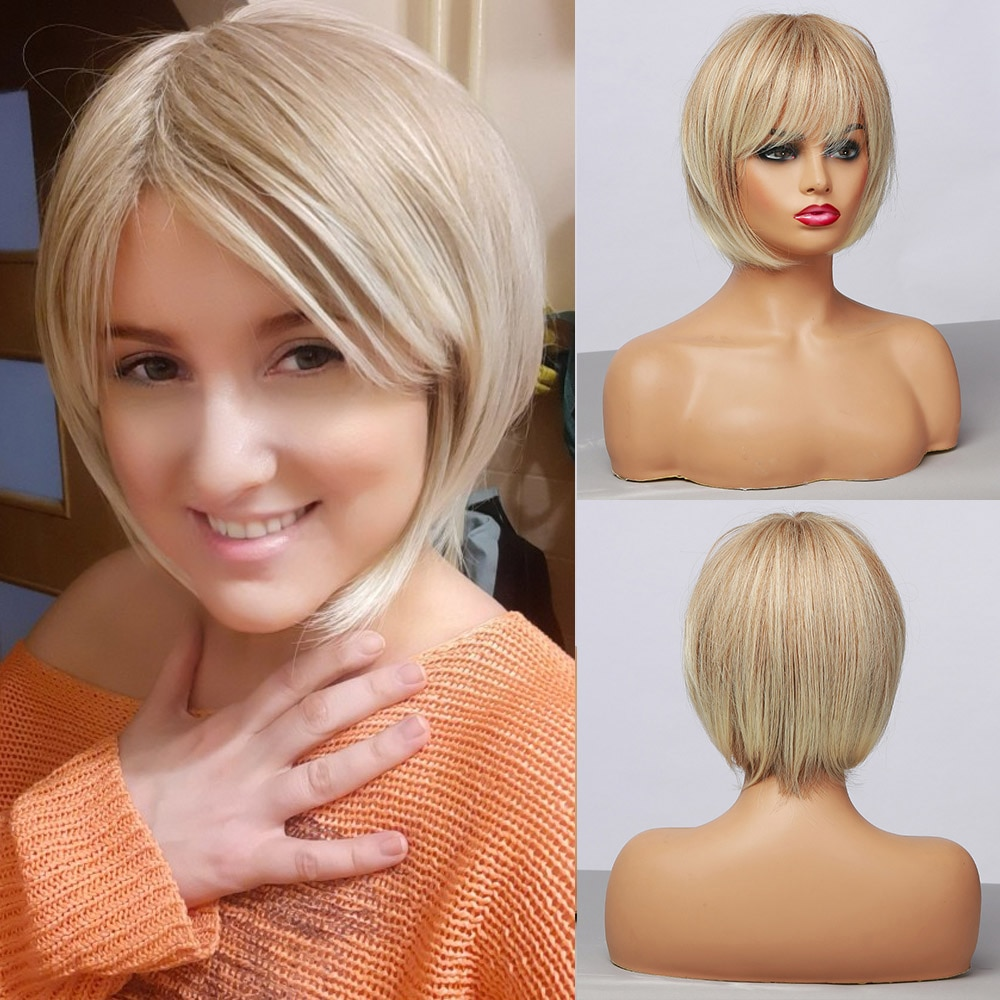 Short Straight Ombre Light Blonde Synthetic Wigs With Bangs for Women bob Hairstyle Cosplay Heat Resistant Natural Hair Wigs