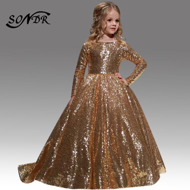 Sequin Flower Girl Dresses HT077 Long Sleeves Pageant Ball Gowns Elegant First Communion Dress for Little Kids