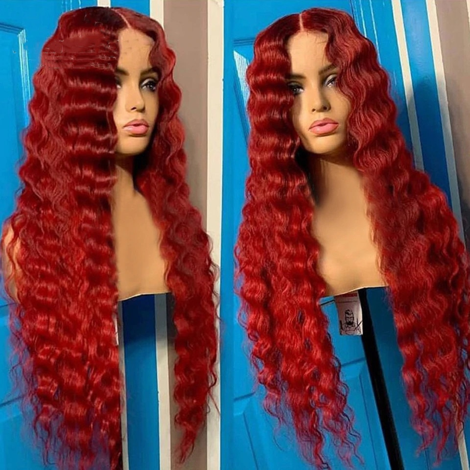 Red Water Wave Wavy 13x5 Lace Front Human Hair Wig Brazilian Virgin Curly Lace Front Wig 180 Density