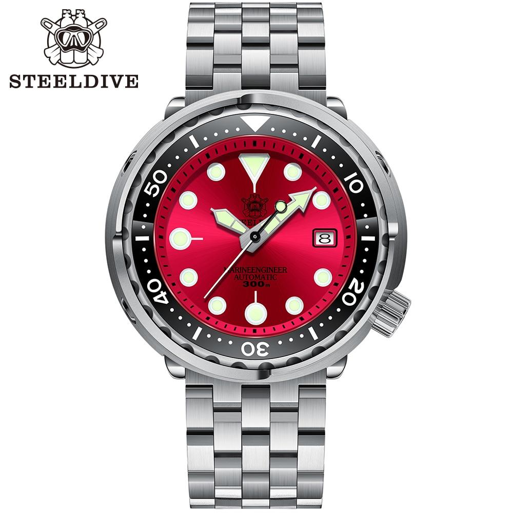 Steelالغوص SD1975 أفضل بيع ستة اللون بطلب 47.5 مللي متر كبير الحجم التلقائي الرجال ساعة مع كفن الصلب الغوص ساعة التلقائي