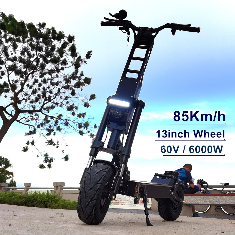 FLJ 13 بوصة سكوتر كهربائي مع 6000 واط/60 فولت 85km/ساعة 90-120kms المدى 50Ah بطارية محرك مزدوج دراجة بإطارات سميكة دراجة نارية E سكوتر