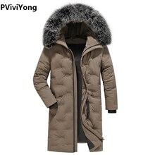 Viviyong 2019 겨울 새로운 고품질 흰색 오리 재킷 남성 코트, 후드 캐주얼 모피 칼라 긴 파카 코트 77