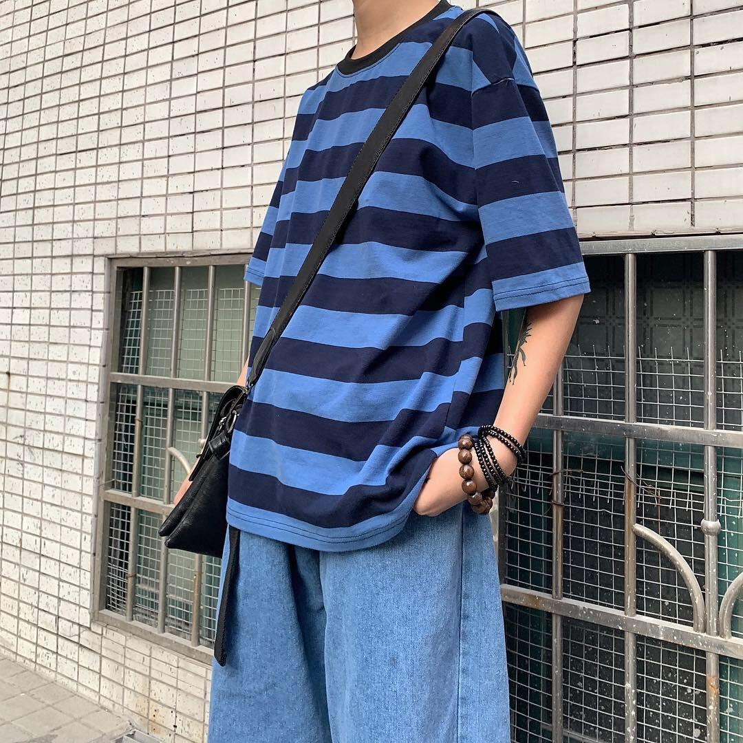 Summer 2021 New Ins Korean Ulzzang Loose Harajuku BF Style Striped Short Sleeve T-shirt Couple Men a