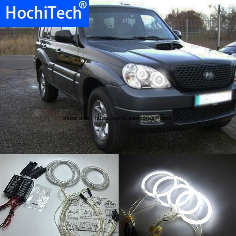 HochiTech para Hyundai Terracan 2001-2007 Ultra brillante luz de día DRL CCFL Ojos de Ángel ojos de demonio Kit blanco cálido Halo anillo
