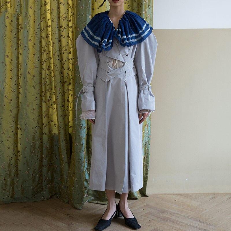 Seepretty-سترة واقية بأكمام طويلة مع طية صدر السترة للنساء ، معطف بسيط ، مخرم ، حزام ، مقاس كبير ، موضة خريف وشتاء 2020 ، T572