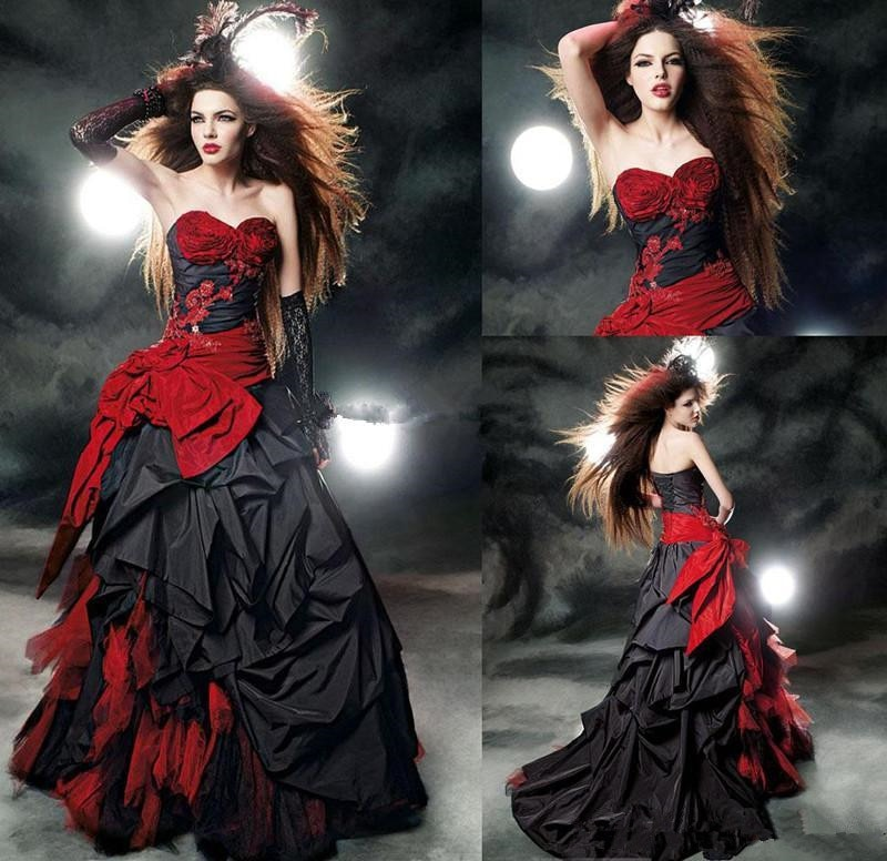 Винтажные черные и красные свадебные платья в готическом стиле, скромное милое атласное кружевное бальное платье с корсетом на спине, сваде...
