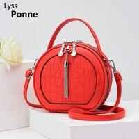 Сумка-мессенджер Женская, модная круглая водонепроницаемая, цвет черный/красный, сумка через плечо из искусственной кожи