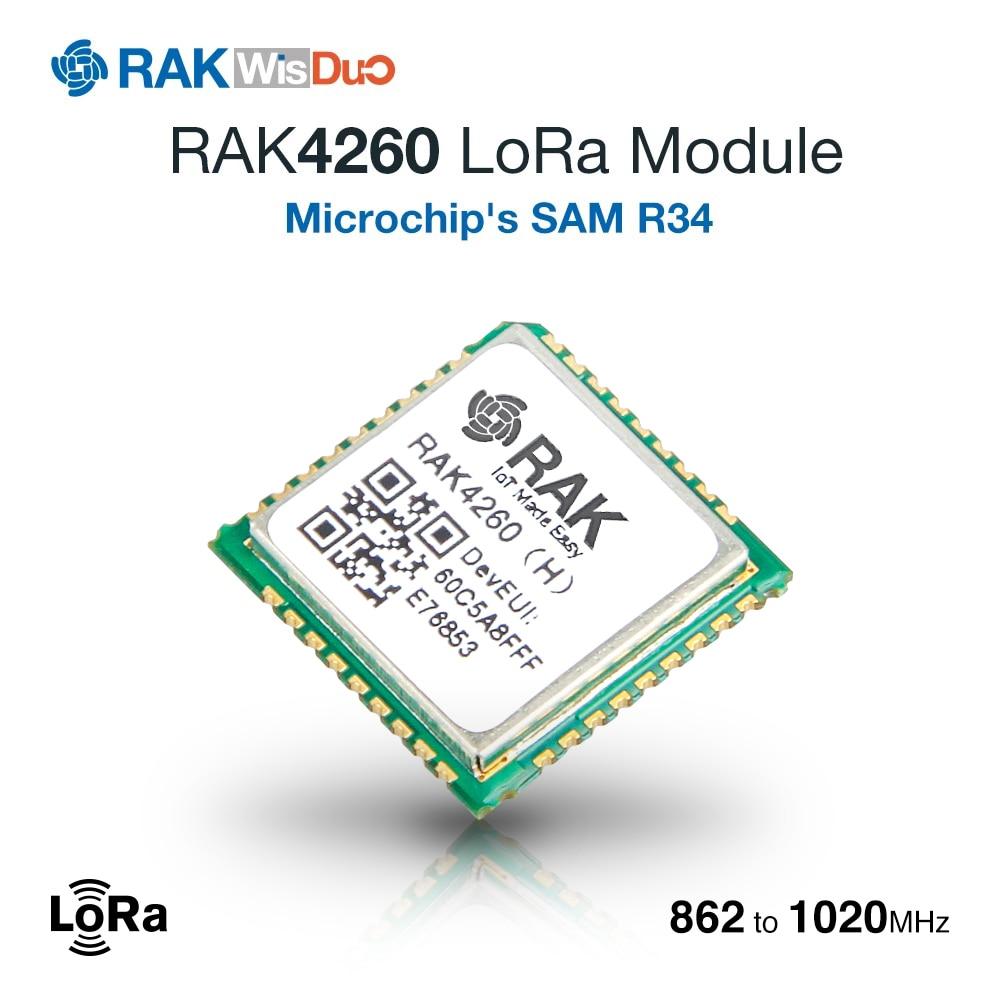 Módulo RAK4260 LoRa con transceptor LoRa basado en Microchip ATSAMR34J18B integrado ARM Cortex de 32 bits-M0 + MCU Q256