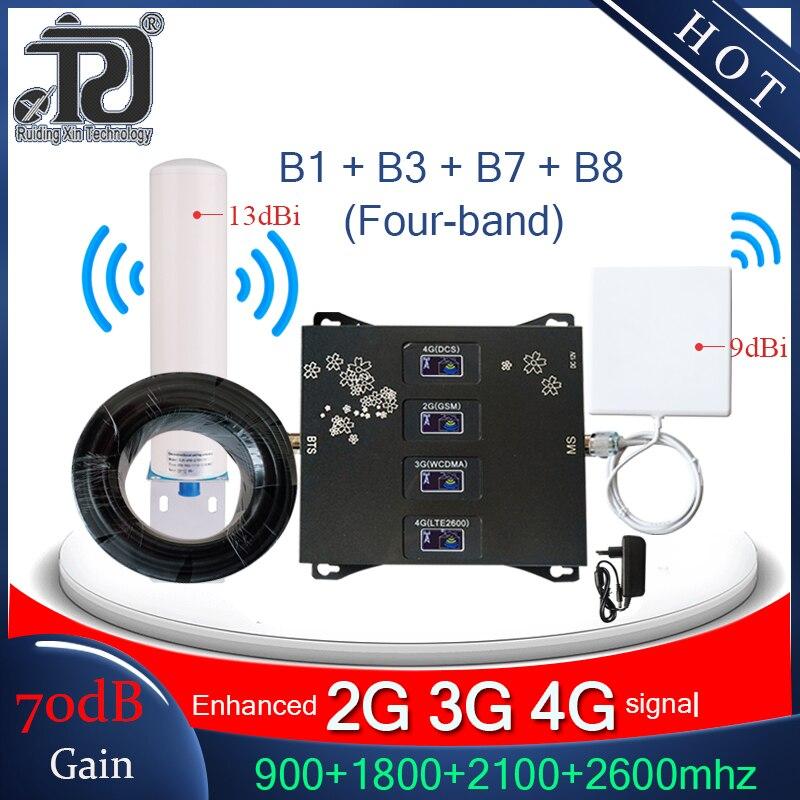 Repetidor de cuatro bandas 900/1800/2100/2600mhz 4g amplificador celular 2G 3G 4G amplificador de señal móvil 4G repetidor de señal gsm 2g 3g 4g