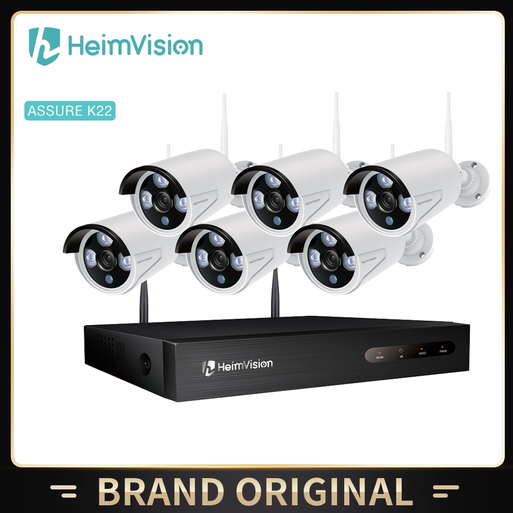 HeimVision K22 1080P 8CH NVR 6 قطعة في الهواء الطلق واي فاي كاميرا أمان لاسلكية نظام طقم مراقبة كاميرا مراقبة المنزل فيديو مجموعة