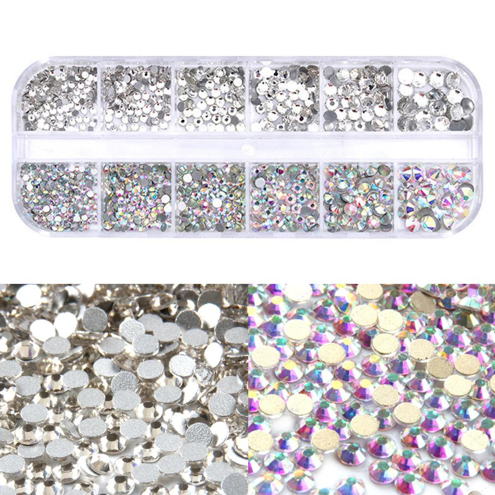 High Brightness Mixed Size 460/Pack Crystal Transparent AB Non-Thermal Modification Flat Bottom Diamond Nail 3D Nail Art