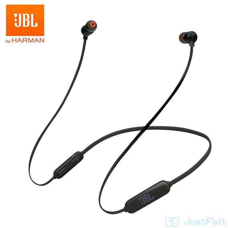 Беспроводные Bluetooth наушники JBL T110BT, Спортивная гарнитура с басами для бега, магнитная гарнитура с 3 кнопками и пультом ДУ с микрофоном для сма...