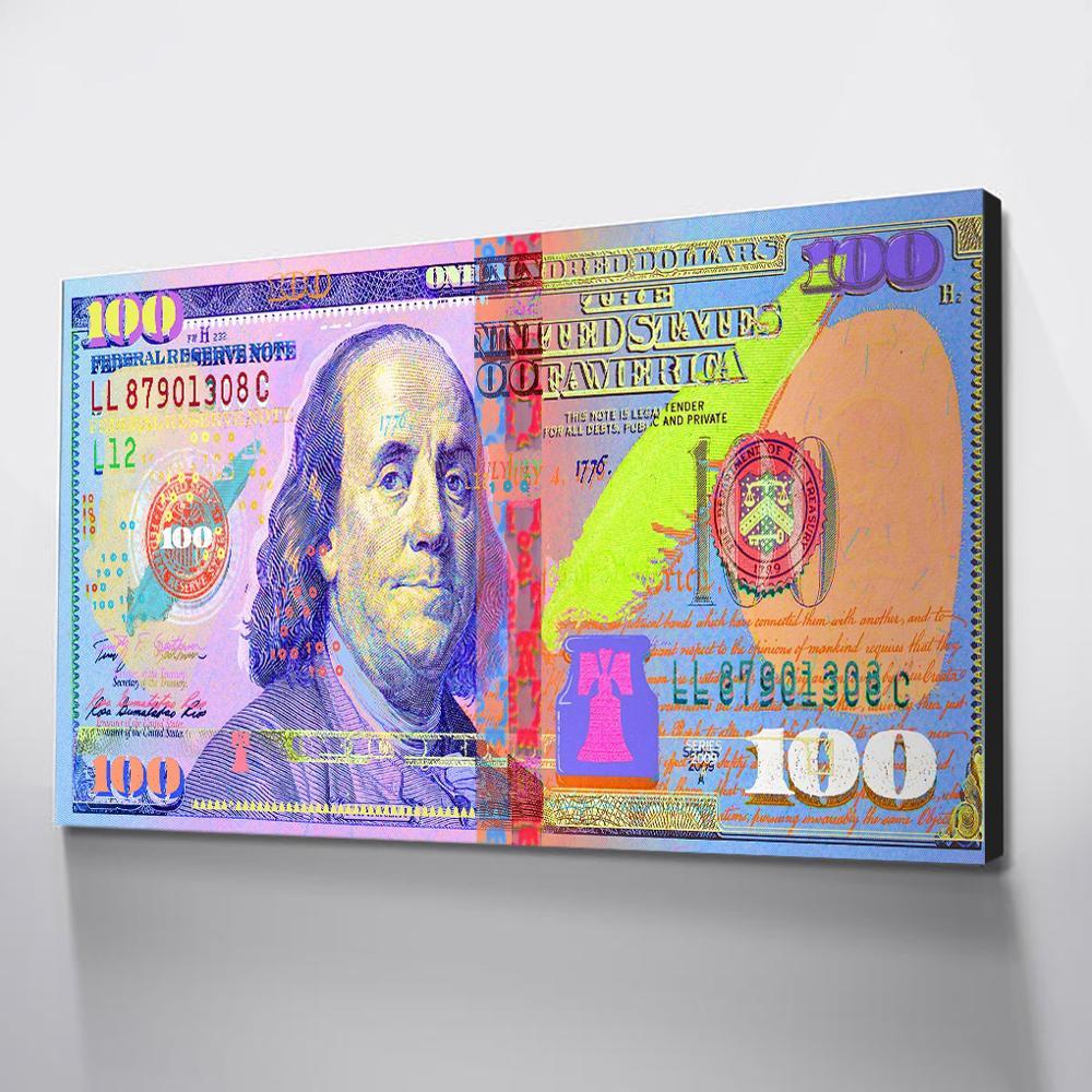 Cuadro de dinero, arte de pared, cuadro colorido, arte de lienzo, póster de pared, Cuadros nórdicos, decoración, arte de pared, envío directo