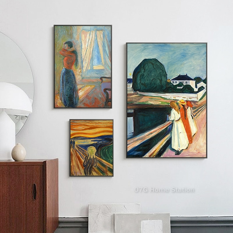 Современная картина «экспресс» Эдвард мунч крик, холст, плакат и печать картины, настенное искусство для украшения гостиной
