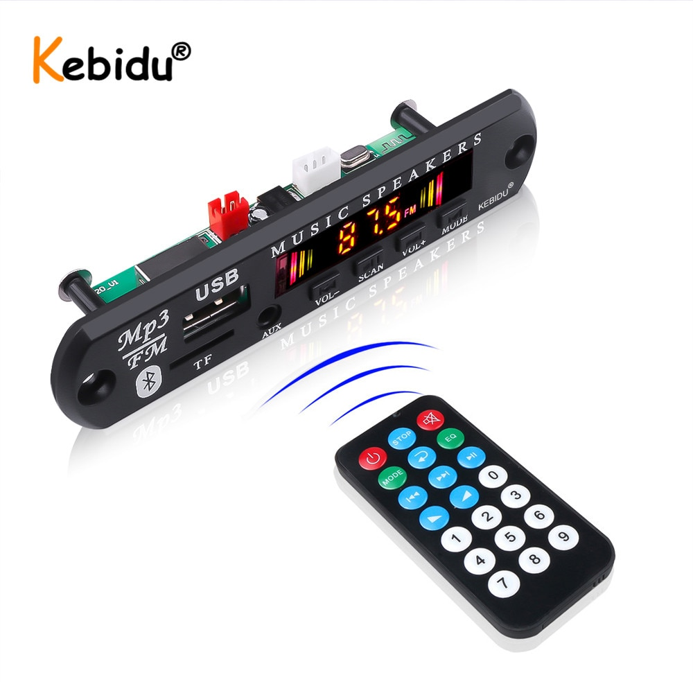 Kebidu 5V 12V Wireless MP3 Player Car Kit Bluetooth MP3 WMA Decoder Board Audio USB TF FM Radio Module With Remote Control