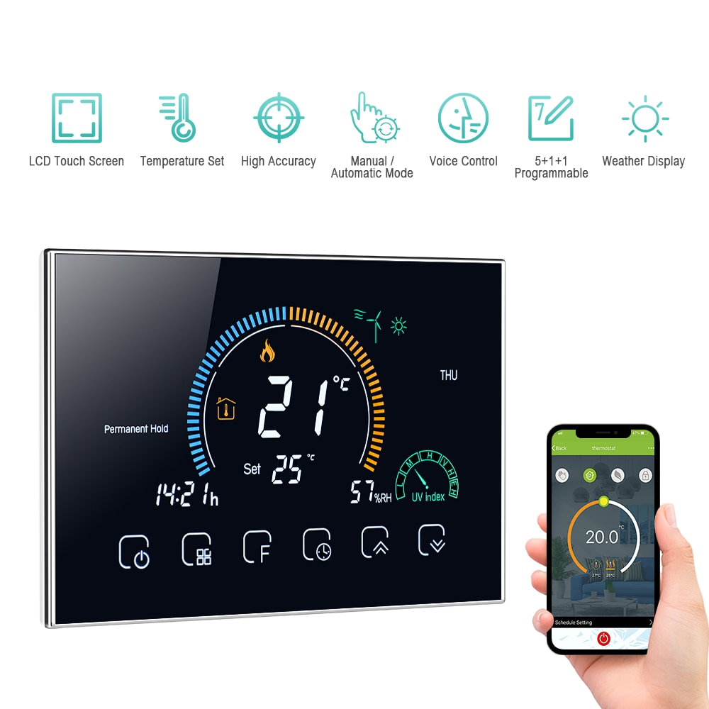 واي فاي صوت التطبيق التحكم الذكية منظم حرارة قابل للبرمجة ℃/ ℉ للتحويل الخلفية لد المياه/الغاز المرجل التدفئة منظم الحرارة
