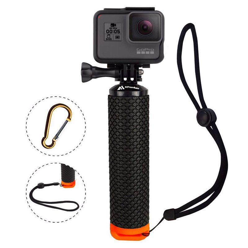 Empuñadura flotante impermeable para Gopro Hero 8 7 6 5 Xiaomi Kit de cámara de acción con mosquetón con correa de muñeca para cámara de deportes acuáticos