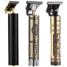 USB Ricaricabile Potente Tagliatore Barba Elettrico Parrucchiere Rasoio Barbiere Cordless Vicino a 0mm T da Uomo Testa di Strumenti di Taglio di capelli