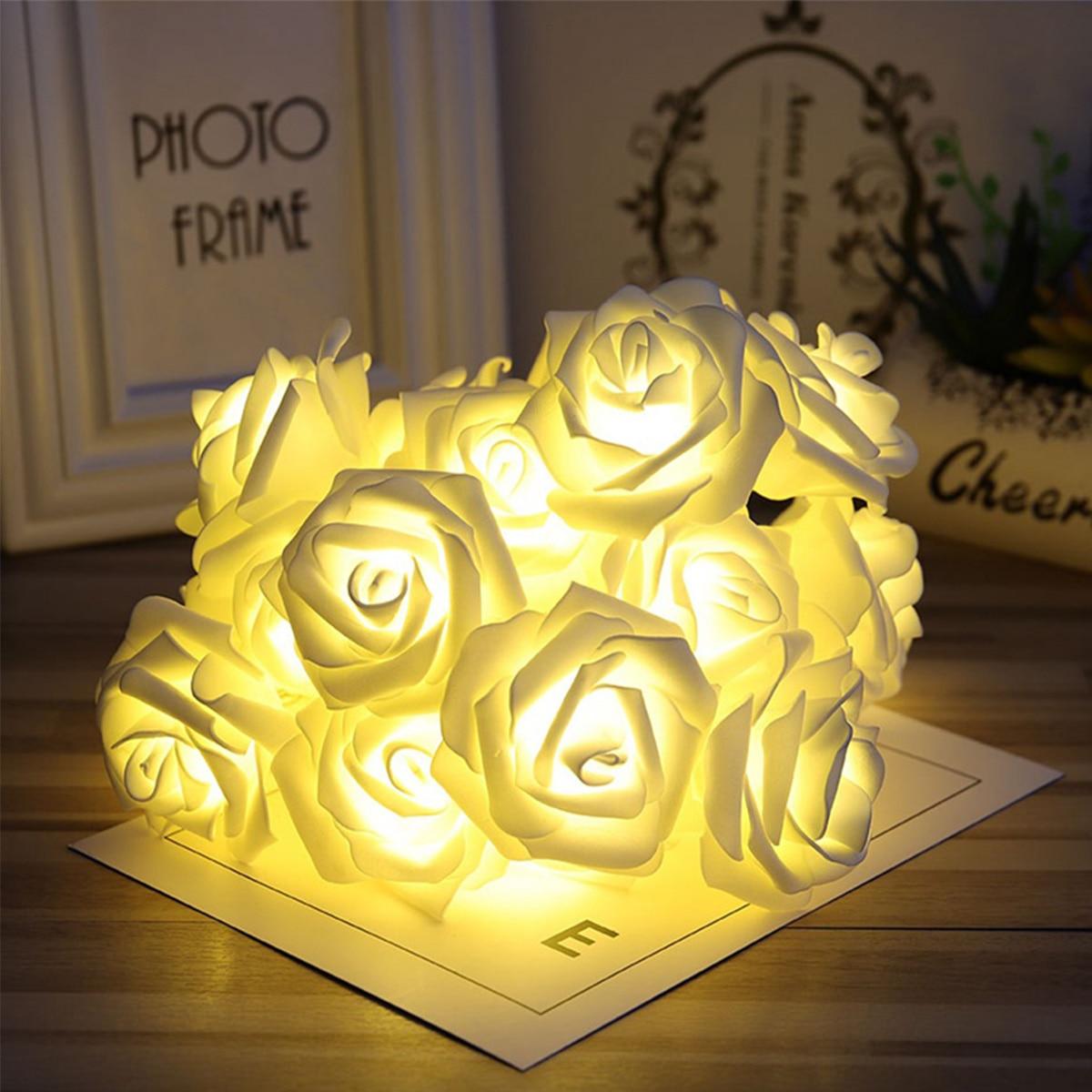 10 20 luzes led string bateria operado rosa flor flash luz decoracao do quarto aniversario