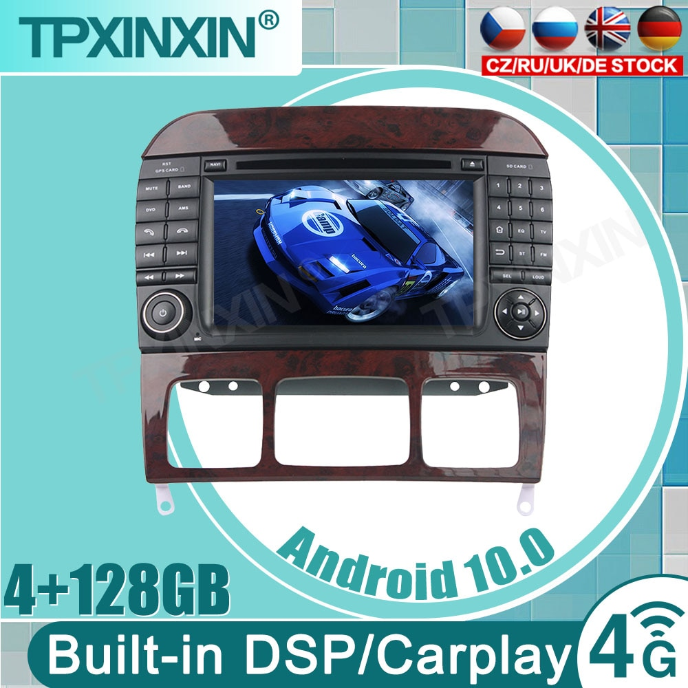 Review 4+128G  Android 10.0 Car DVD for Mercedes Benz S Class W220 iPhone Auto CarPlay GPS DSP DAB