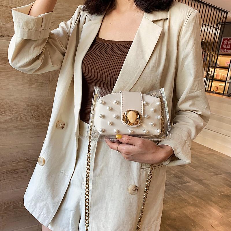 Nueva bolsa de jalea de perlas transparente coreana Chaozhou ins cadena un hombro oblicuo Span pequeña bolsa cuadrada 2019