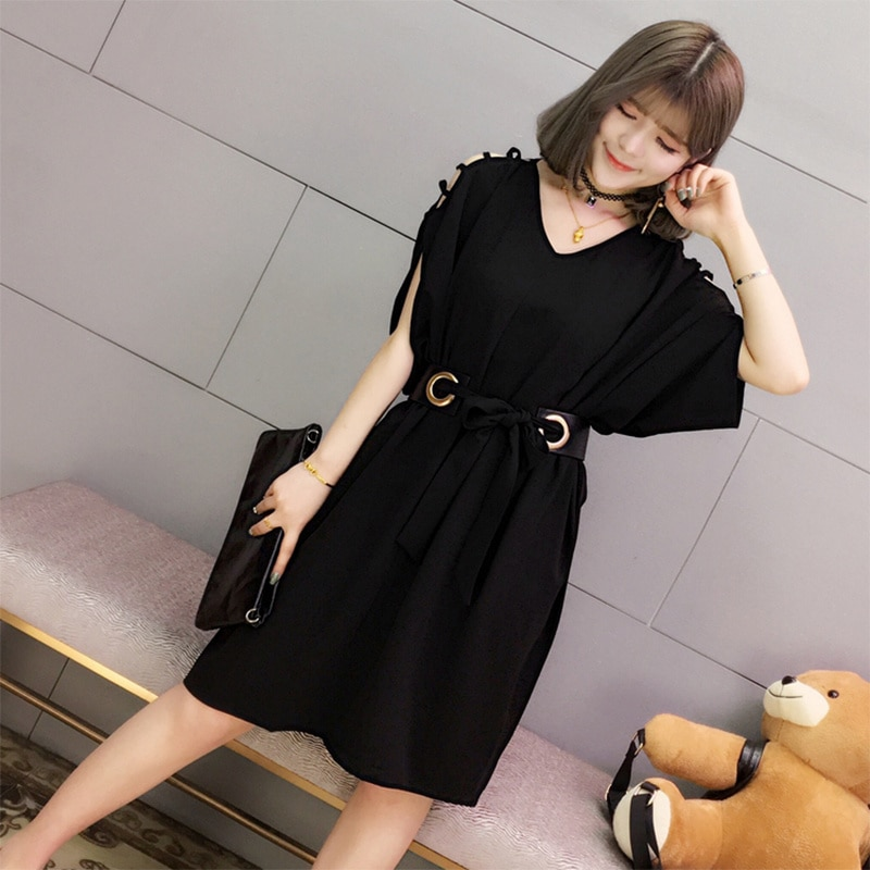 Women's Clothing Off-Shoulder Dress Elegant Summer New Style Fat Casual Loose Young Girl Office Lady Korean Japan 2021 Fashion