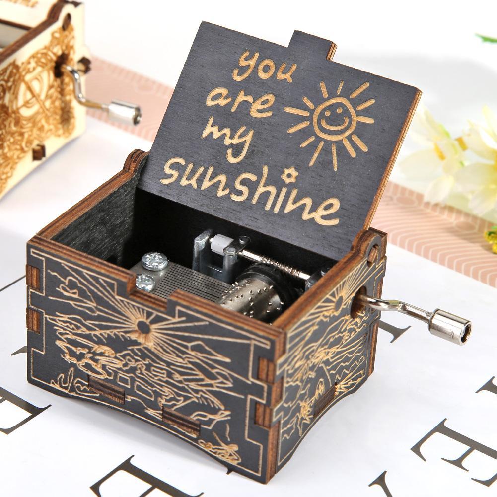 Retro Wood Hand Cranked Music Box Carved Kid Child Birthday Gift Home Decor You Are My Sunshine Birt