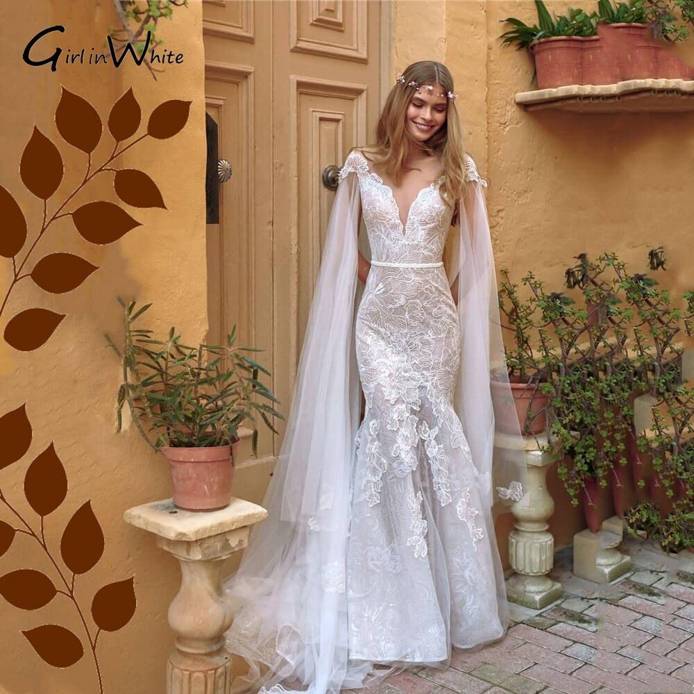 Review robe de mariée Princess Illusion Back Lace Wedding Dresses Mermaid Short Sleeves Vestido De Novia Bridal Gowns Court Train