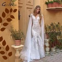 robe de mari%c3%a9e princess illusion back lace wedding dresses mermaid short sleeves vestido de novia bridal gowns court train
